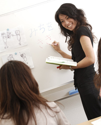 a woman teaching japanese